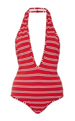 Zimmermann Roza Striped One Piece Swimsuit Red