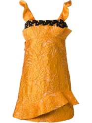 Msgm Lace Detail Structured Dress Yellow And Orange