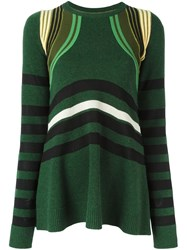 Paco Rabanne Striped Jumper Green