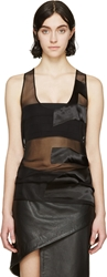 Anthony Vaccarello Black Muslin Text Devore Tank Top