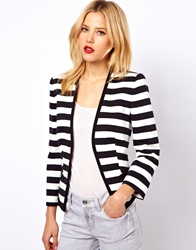 Mango Cotton Striped Blazer Blackwhite