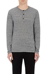 Theory Men's Striped Linen Henley Black