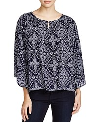 Kim And Cami Printed Flutter Sleeve Blouse Navy Combo