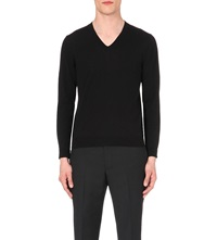 Sandro V Neck Wool Jumper Black