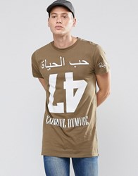 Criminal Damage Long Line Number T Shirt Green