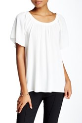 1.State Flutter Sleeve Scoop Neck Blouse White