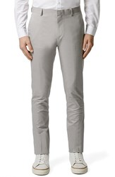 Men's Topman Light Grey Chambray Skinny Fit Suit Trousers