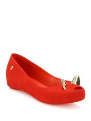 Melissa Mouse Peep Toe Ballet Flats Black Silver Red Gold