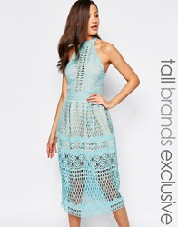 Jarlo Tall High Neck Allover Cutwork Lace Prom Skater Midi Dress Green