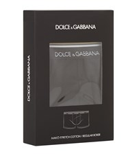 Dolce And Gabbana Logo Gold Stripe Trunks Male Black