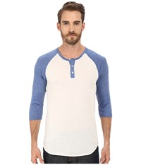 Alternative Apparel 3 4 Raglan Henley Eco True Ocean Blue Men's Long Sleeve Pullover