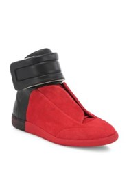 Maison Martin Margiela Colorblock Calf Leather High Top Sneakers Red