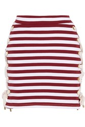House Of Holland Lace Up Striped Stretch Cotton Jersey Mini Skirt