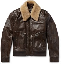 Belstaff Campbell Shearling Trimmed Leather Jacket Dark Brown