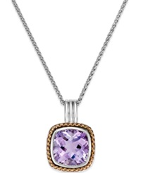 Macy's Amethyst Pendant Necklace 6 Ct. T.W. In 18K Rose Gold And Sterling Silver