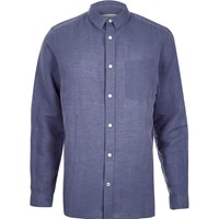 River Island Mens Blue Relaxed Fit Linen Rich Shirt