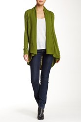 Colour Works Shawl Collar Open Front Cardigan Green