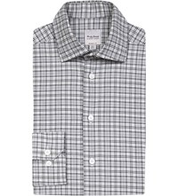 Hardy Amies Regular Fit Checked Cotton Shirt Grey