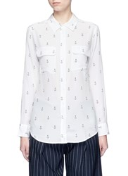 Equipment 'Slim Signature' Anchor Print Silk Shirt White