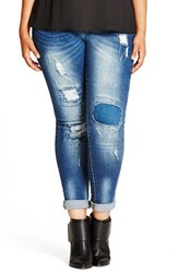 City Chic Plus Size Women's 'Patched Up' Distressed Skinny Jeans