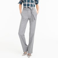 J.Crew Petite Full Length Pant In Wool Flannel With Tie