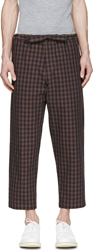Umit Benan Navy And Brown Gingham Trousers