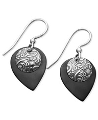 Jody Coyote Patina Bronze Earrings Black Teardrop Earrings