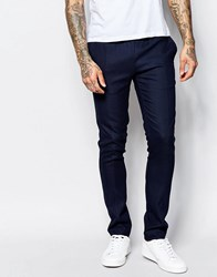 Asos Super Skinny Smart Joggers With Elastic Waist In Blue Print Navy