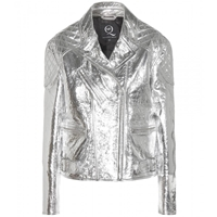 Mcq By Alexander Mcqueen Metallic Leather Jacket Silver