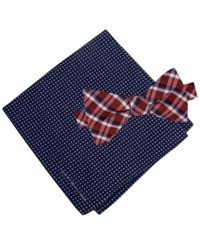 Tommy Hilfiger Men's Grid To Tie Bow Tie And Dot Pocket Square Set Navy