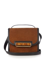 Hillier Bartley Cigar Suede And Leather Cross Body Bag Dark Brown