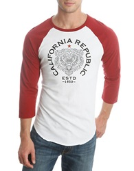 Lucky Brand California Republic Baseball Tee Red