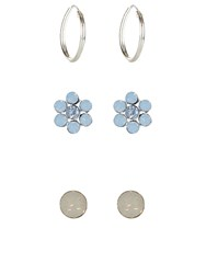Accessorize Sterling Silver 3 X Swarovski Earrings