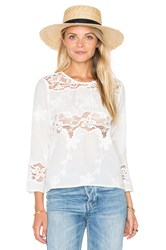 Endless Rose Woven Long Sleeve Top White