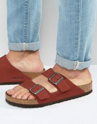 Birkenstocks Arizona Nubuck Sandals Red