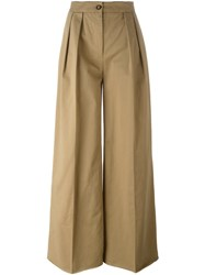 Moncler Pleated Wide Leg Trousers Brown