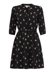 Yumi Gold Owl Print Kaftan Dress Black