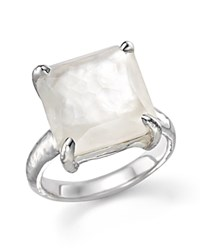 Ippolita Sterling Silver Wonderland Medium Square Stone Ring In Clear Quartz And Mother Of Pearl Doublet White Silver