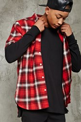 Forever 21 Slim Fit Flannel Shirt Red Cream