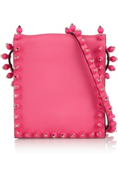 Valentino Neon Embellished Leather Shoulder Bag Pink