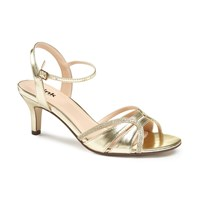 Paradox London Pink Harriet Two Part Mid Heel Sandals Gold