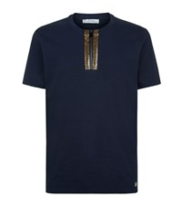 Versace Collection Studded Zip Neck T Shirt Male Navy