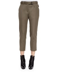 3.1 Phillip Lim Cropped Wool Utility Pants Olive Green Women's Size 8