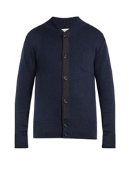 Oliver Spencer Milano Grosgrain Detail Merino Wool Sweater Navy
