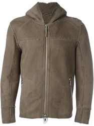 Eleventy Hooded Zipped Jacket Brown