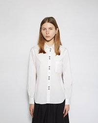 Comme Des Garcons Girl Embroidered Button Up Shirt White