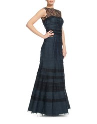 Kay Unger Tiered Organza And Lace Gown Navy Black
