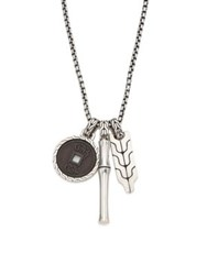 John Hardy Sterling Silver Bamboo Pendant Necklace Black