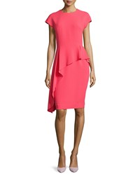 Rickie Freeman For Teri Jon Asymmetric Peplum Short Sleeve Dress Coral