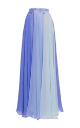 Luisa Beccaria Chiffon Multicolor Skirt Blue